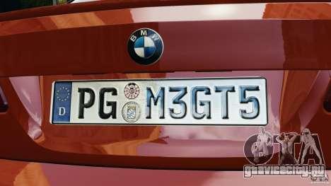BMW M3 GTS 2010 для GTA 4 вид снизу