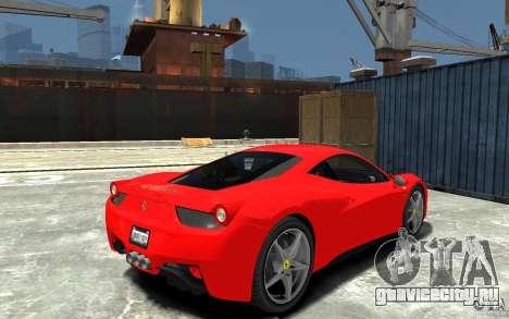 Ferrari 458 Italia 2010 v3.0 для GTA 4 вид справа