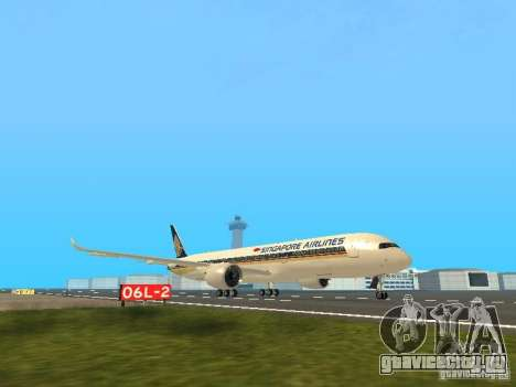 Airbus A350-900 Singapore Airlines для GTA San Andreas вид слева