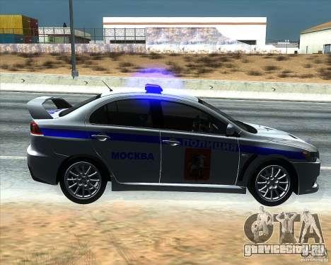 Mitsubishi Lancer Evolution X ППС Полиция для GTA San Andreas вид слева