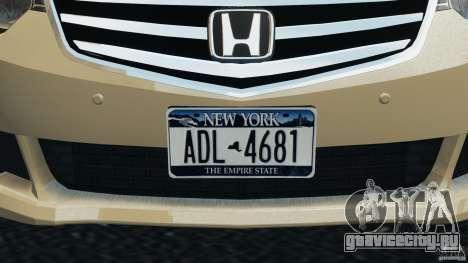 Honda Accord Type S 2008 для GTA 4 вид снизу