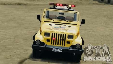 Jeep Wrangler 1988 Beach Patrol v1.1 [ELS] для GTA 4 вид изнутри