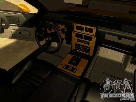 Pontiac Fiero V8 для GTA San Andreas вид изнутри