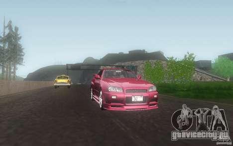 Nissan Skyline GT-R R34 M-spec Nur для GTA San Andreas вид изнутри