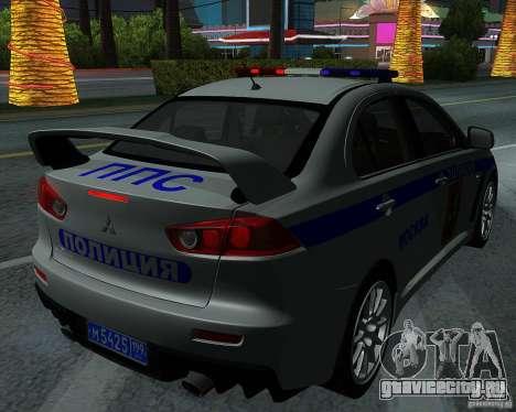 Mitsubishi Lancer Evolution X ППС Полиция для GTA San Andreas вид сбоку