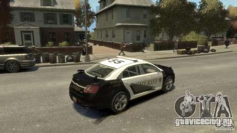 Ford Taurus Sheriff 2010 для GTA 4 вид сзади