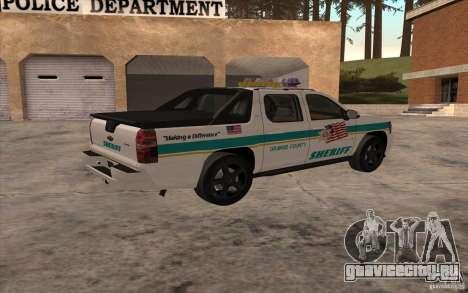 Chevrolet Avalanche Orange County Sheriff для GTA San Andreas вид слева