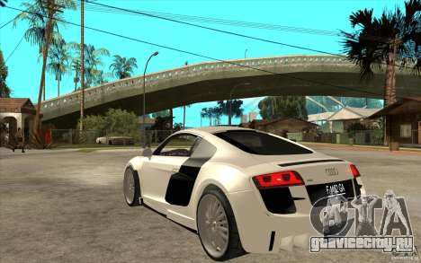 Audi R8 5.2 FSI custom для GTA San Andreas вид сзади слева