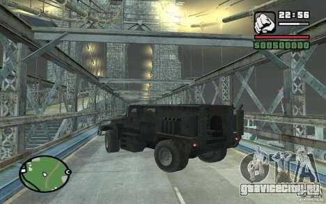 Военный грузовик для GTA San Andreas вид сбоку