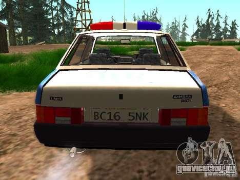ВАЗ 2109 Полиция для GTA San Andreas вид сзади