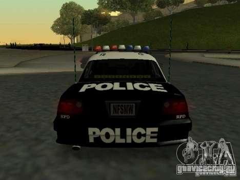 Police Civic Cruiser NFS MW для GTA San Andreas вид справа