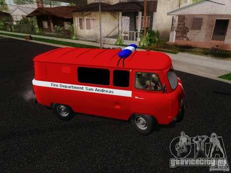 УАЗ-3909 Пожарная служба для GTA San Andreas вид сзади слева