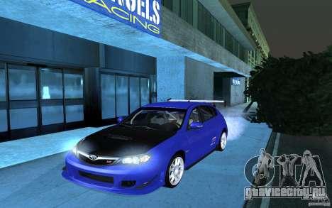 Subaru Impreza WRX STI 2008 Tunable для GTA San Andreas вид сзади слева