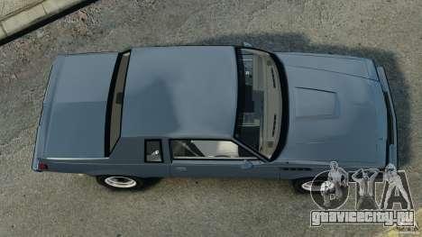 Buick GNX 1987 для GTA 4 вид справа