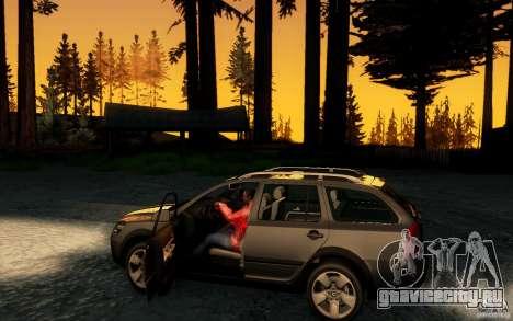 Skoda Octavia Scout для GTA San Andreas вид изнутри