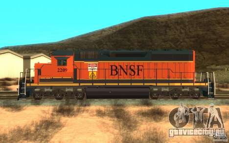 Локомотив SD 40 Union Pacific BNSF для GTA San Andreas вид слева