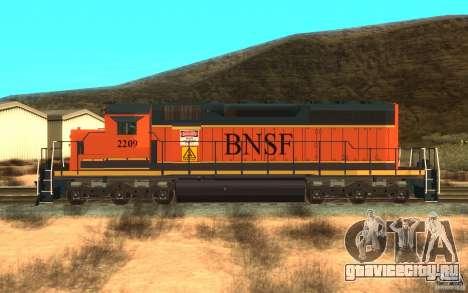 Локомотив SD 40 Union Pacific BNSF для GTA San Andreas вид слева