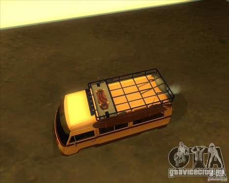 Volkswagen Kombi Classic Retro для GTA San Andreas вид изнутри