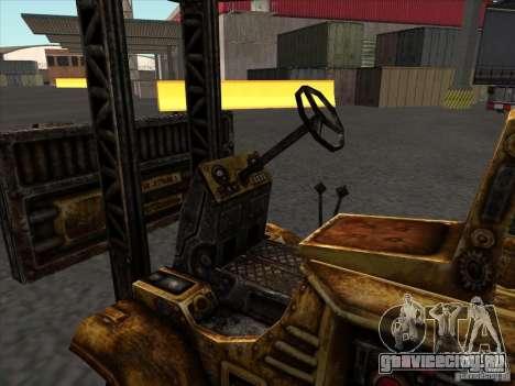 Автопогрузчик из TimeShift для GTA San Andreas вид изнутри