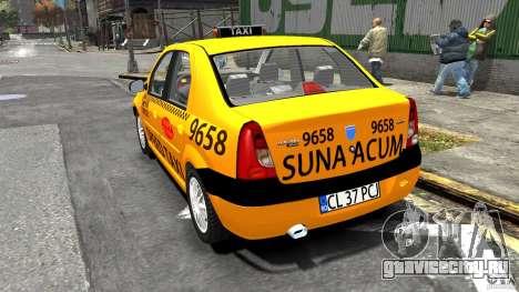 Dacia Logan Prestige Taxi для GTA 4 вид сзади слева