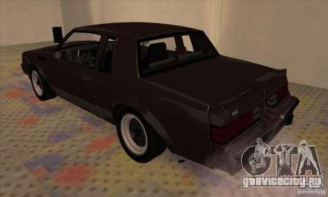 Buick Regal GNX 1987 для GTA San Andreas вид справа