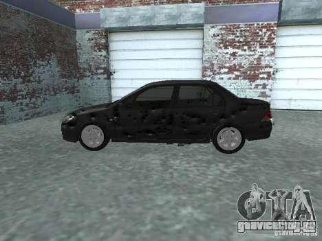 Mitsubishi Lancer 1.6 для GTA San Andreas вид изнутри
