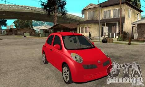 Nissan Micra для GTA San Andreas вид сзади
