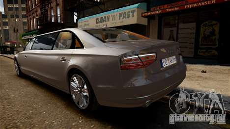 Audi A8 лимузин для GTA 4 вид справа