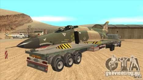 Flatbed trailer with dismantled F-4E Phantom для GTA San Andreas вид справа