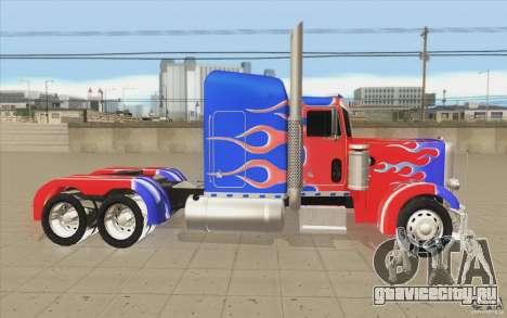 Peterbilt 379 Optimus Prime для GTA San Andreas вид изнутри