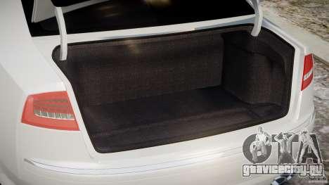 Audi S8 D3 2009 для GTA 4 вид сзади