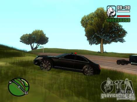 Mercedes-Benz S500 с мигалками для GTA San Andreas вид сбоку