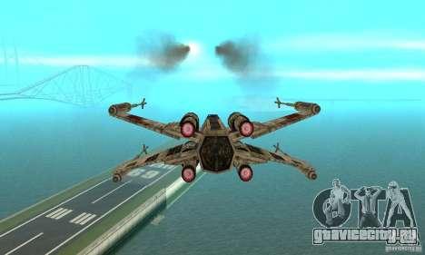 X-WING v1 из Star Wars для GTA San Andreas вид сзади слева