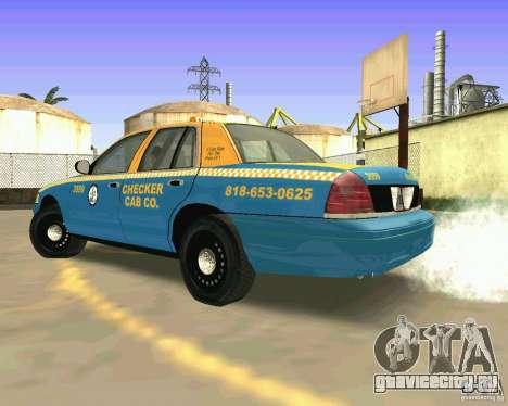 Ford Crown Victoria 2003 Taxi Cab для GTA San Andreas вид сзади слева