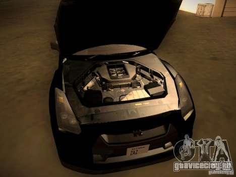 Nissan GT-R для GTA San Andreas вид изнутри