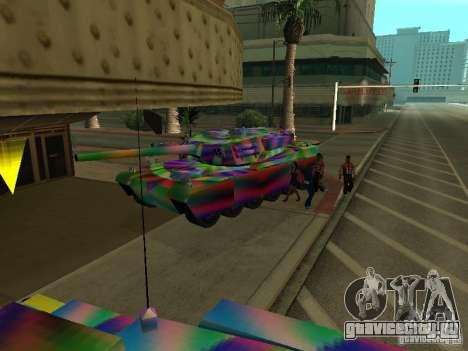 Веселенькая расцветка танка для GTA San Andreas вид изнутри