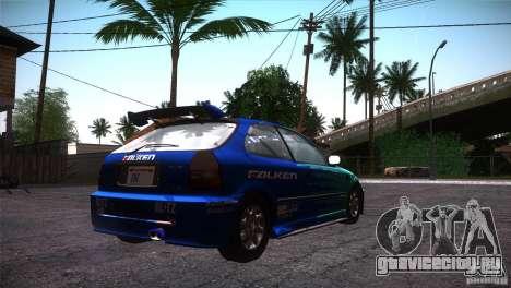 Honda Civic Tuneable для GTA San Andreas салон