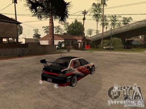 Mitsubishi Lancer Evolution 8 GReddy для GTA San Andreas вид сзади слева