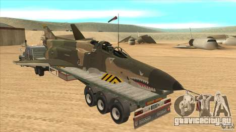 Flatbed trailer with dismantled F-4E Phantom для GTA San Andreas вид сзади слева