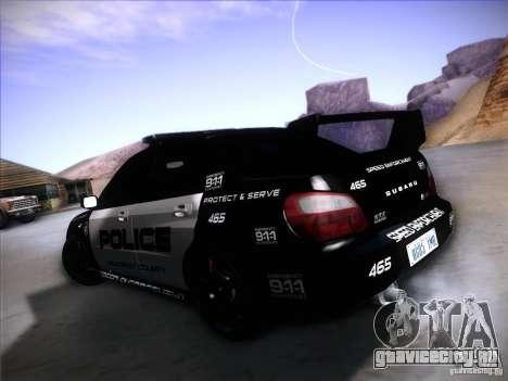 Subaru Impreza WRX STI Police Speed Enforcement для GTA San Andreas вид слева