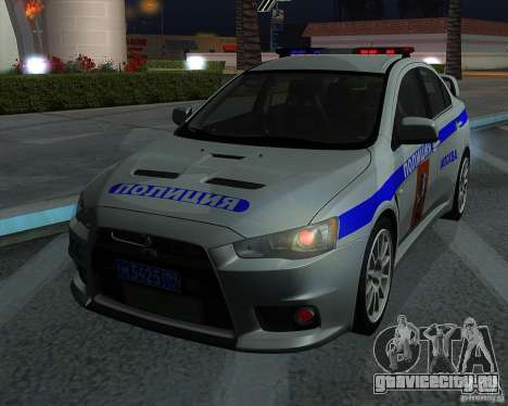 Mitsubishi Lancer Evolution X ППС Полиция для GTA San Andreas вид изнутри