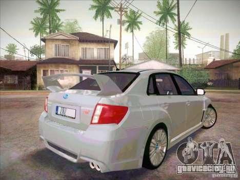 Subaru Impreza WRX STI 2011 Sedan для GTA San Andreas вид сзади слева