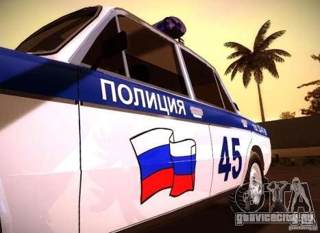 ВАЗ 2106 Полиция v2.0 для GTA San Andreas вид справа
