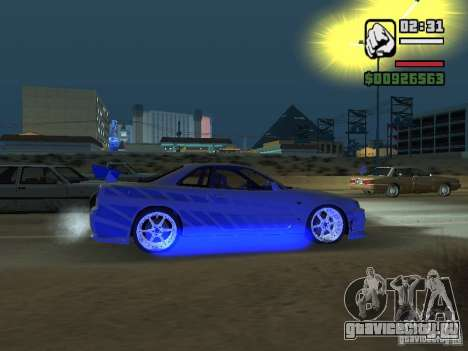 Nissan Skyline GTR34 FNF2 для GTA San Andreas вид сзади слева