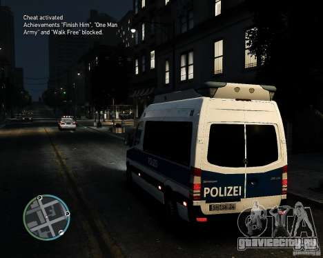 Mercedes Sprinter German Police для GTA 4 вид сзади слева