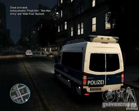 Mercedes Sprinter German Police для GTA 4 вид сзади слева