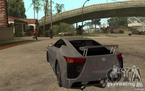 Lexus LFA 2010 для GTA San Andreas вид сзади слева