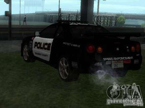 Nissan Skyline R34 Police для GTA San Andreas вид слева