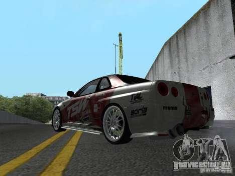 Nissan Skyline R 34 для GTA San Andreas вид справа