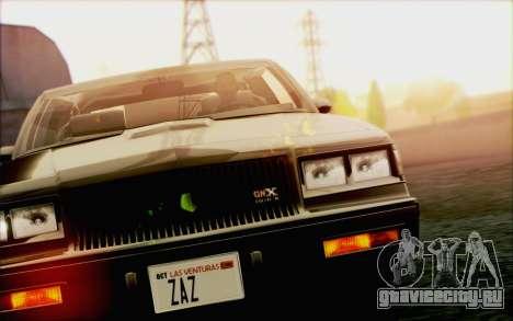 Buick GNX 1987 для GTA San Andreas салон